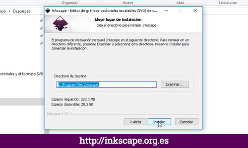 PASO 5: Instalar Inkscape para Windows
